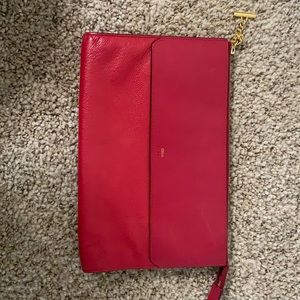 Red leather Chloe clutch
